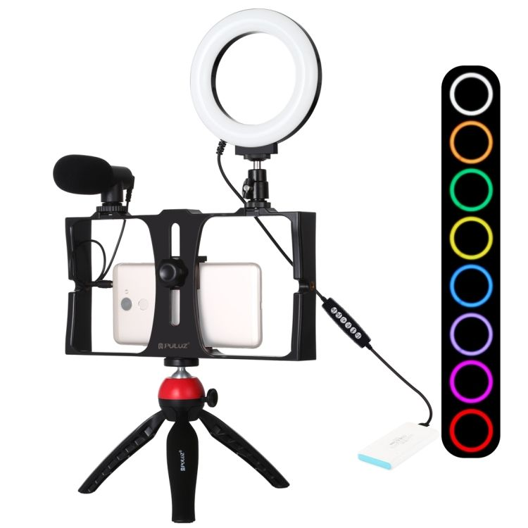 PULUZ 4 in 1 Vlogging Live Broadcast Smartphone Video Rig + RGBW Ring LED Selfie Light + Microphone + Tripod Mount Kits