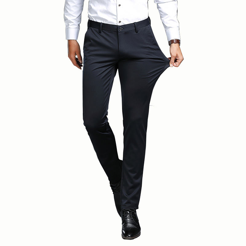 In-stock Men's Classical Business Pants Slacks Trousers Spring & Autumn Casual Slim Pants