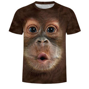 Newest plus size camisetas 3xl D animal monkey printed funny t-shirts graphic design custom fitted loose tees basic big tall men