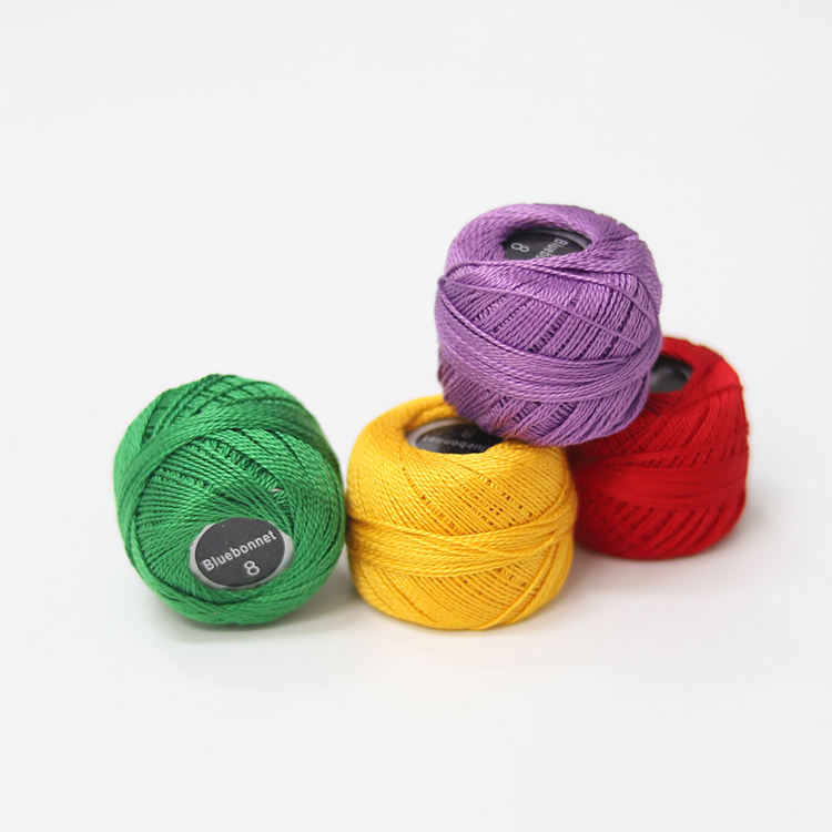 Size 8 Pearl Cotton Thread for Cross stitch 43yards (5grams) per ball Double Mercerized long staple Cotton,10pcs/col