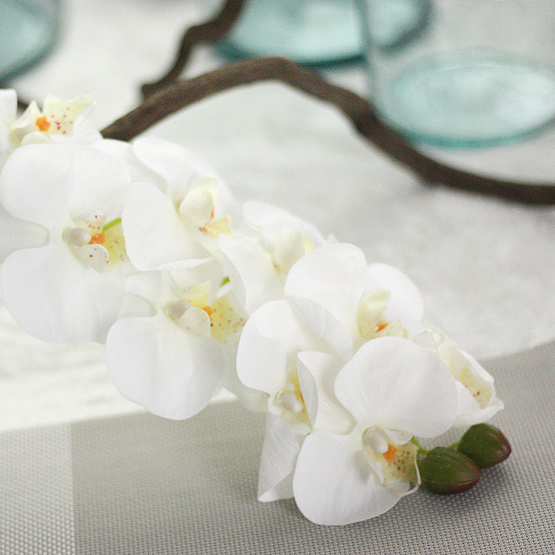 Decoration simulation plant Real touch artificial orchids white
