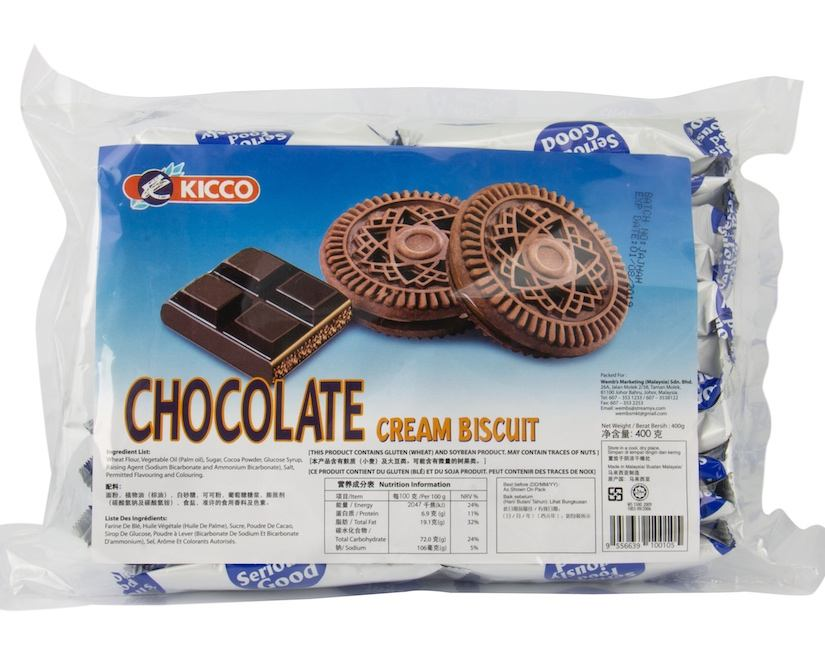 Kicco Chocolate Cream Center Filled Delicious Biscuit Sweet Taste in Plastic Pack Malaysia biscuits