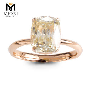 Klassische Design Rose Gold Engagement Ring Kissen Form Moissanite ring 14k Gold Schmuck