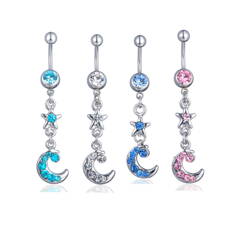 VRIUA Moon Star Zircon Belly Button Rings Fashion Surgical Steel Navel Piercing Belly Piercing Body Jewelry Elegant Piercing