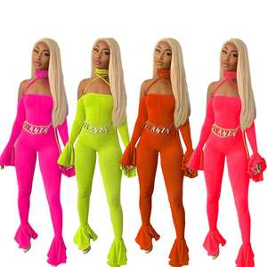 2019 New arrival women jumpsuits trendy sexy club party one piece neon pants flare bell bottom backless jumpsuit