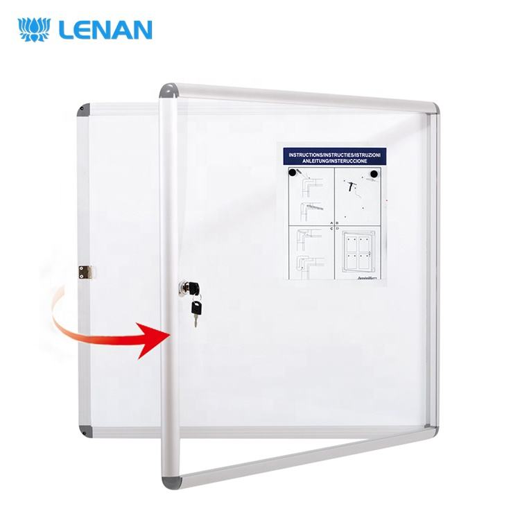 Office home supplies acrylic door aluminum frame enclosed bulletin board wall mount lockable notice board