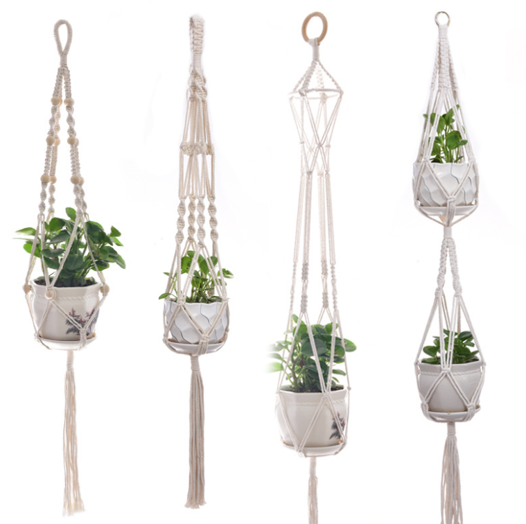 Macram\u00e9 plant hanging stickerglossywaterproofhigh quality.
