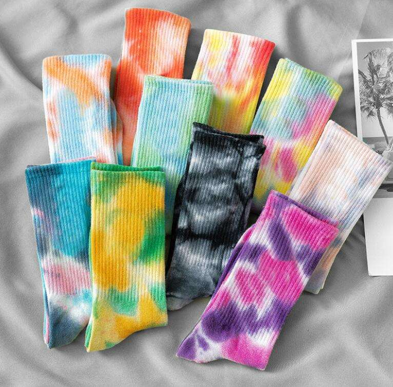 Hip Hop Skateboard Popular Vivid Color Tie Dye Sports Socks Soft Cotton Couples Socks