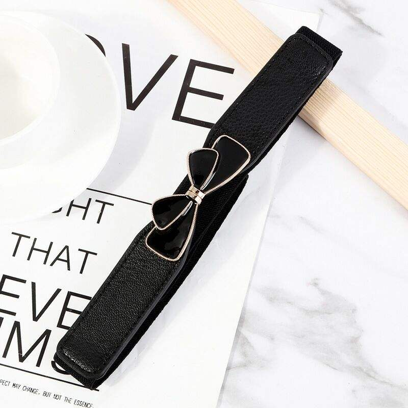 Popular Bow-knot To Buckle Belt Fashion Simple Elastic Belt For Women