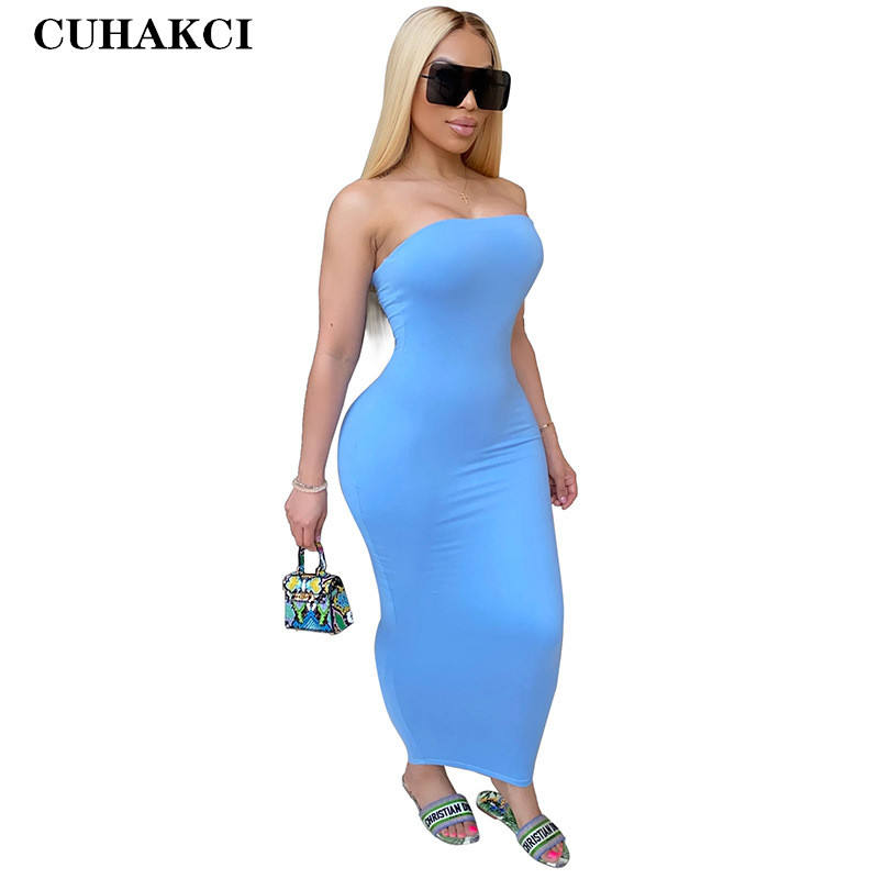 CUHAKCI Women Wholesale Off Shoulder Solid Tight Tube Top High Stretch Dress Strapless Sexy Bodycon Wear Plus Size S-5XL