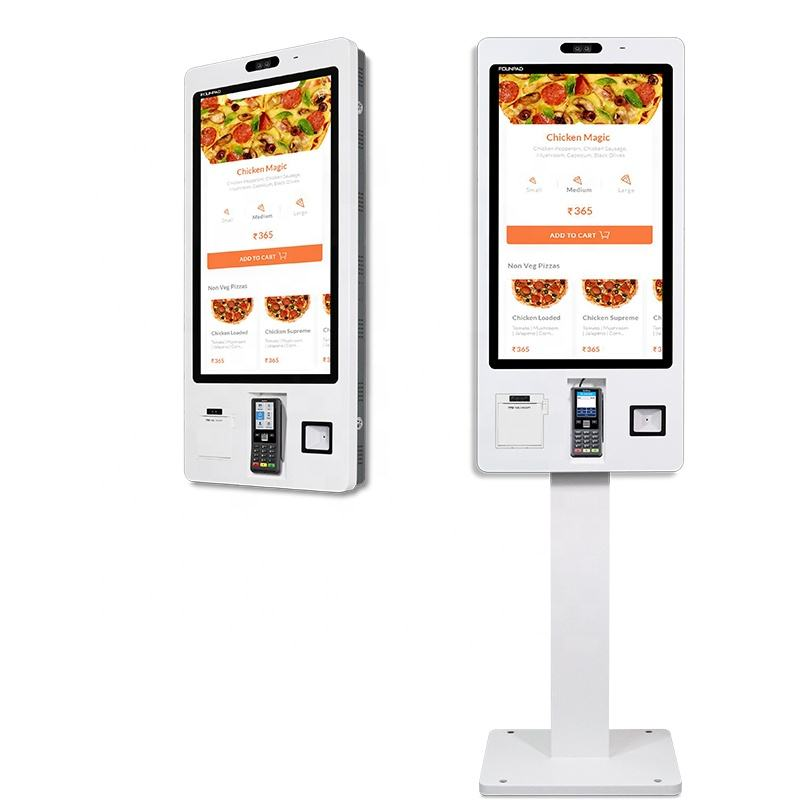 Certification touch screen self-service serve terminal kiosk restaurant food menu ordering kiosk with printing