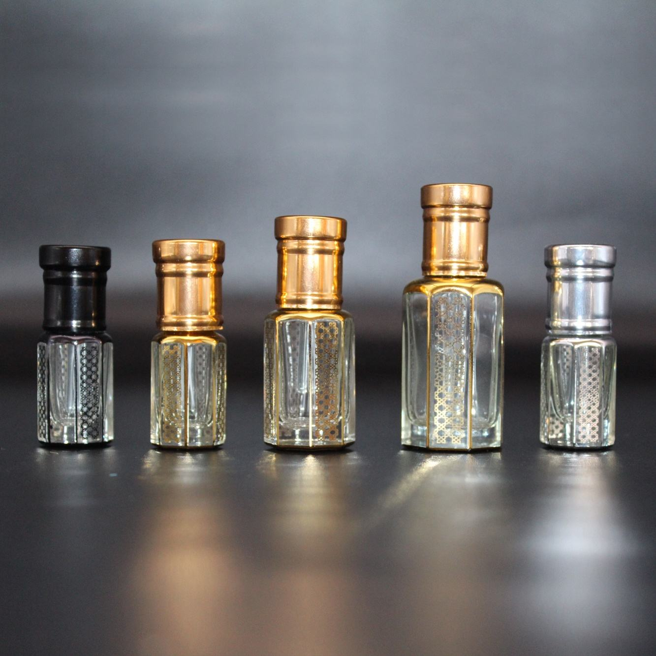 CJ-3ml 6ml 12ml Octagon Attar Gold Hot Stamping Logo Empty Glass Bottle Roll on Perfume Essential Oil Glass Bottle
