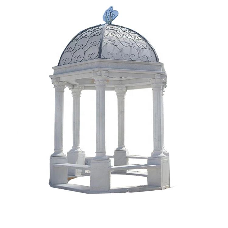 White marble decorated wedding round gazebos for sale