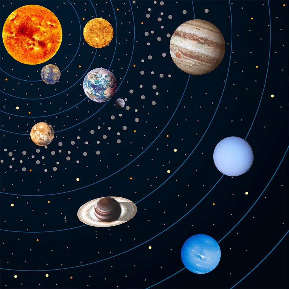 Glow in The Dark Stars and Planets, Bright Solar System Wall Stickers 9 Glowing Ceiling Decals for Bedroom Living Room for Kids