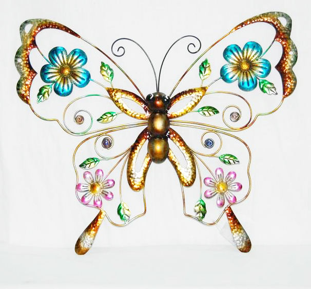 Decoración colgante de pared de mariposa marrón de metal Multicolor