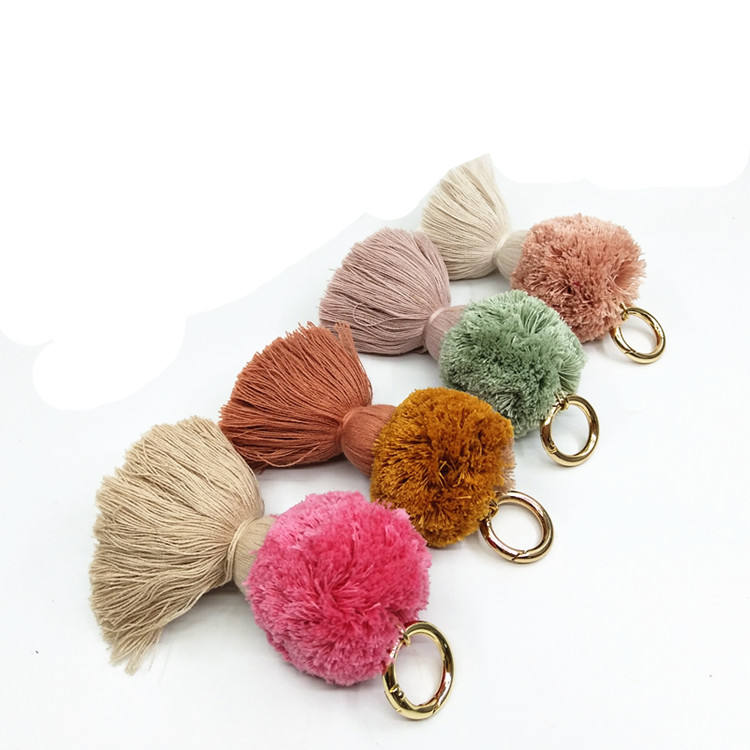 100% Cotton PomPom Tassel Keychain & Pompom keychains supplier