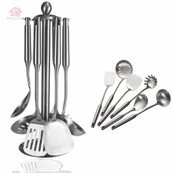 2020 Kitchen Accessory Wholesale SS Kitchen Cooking Utensils Stocked 7 Pieces Stainless Steel Kitchen Utensils