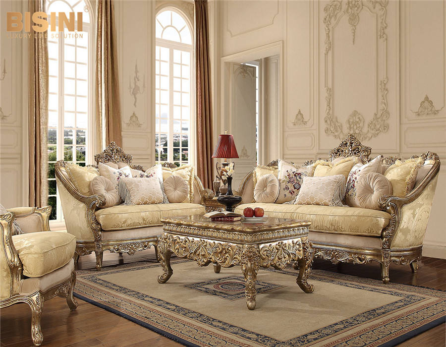 Factory Direct Sale European Style Living Room Solid Wood Carving Fabric Sofa