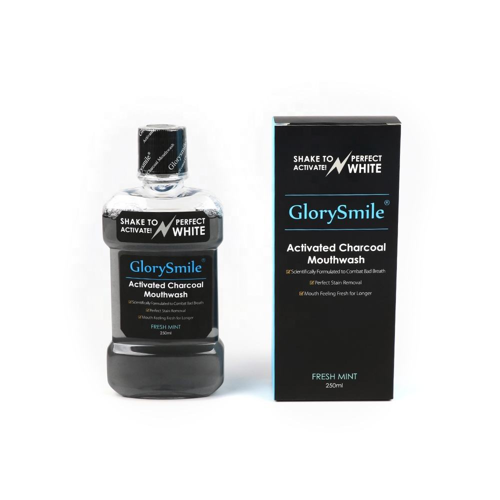 Wholesale Private Label Deep Clean Mouthwash Non-fluoride Activated Charcoal Mouthwash For Oral Refresh