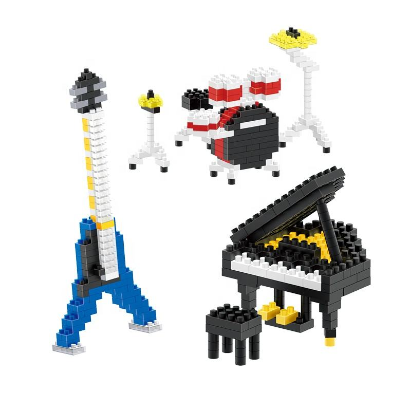 Lele Brother Diamond Blocks Musical Instrument Piano Guitar Drum Set Construction Toy