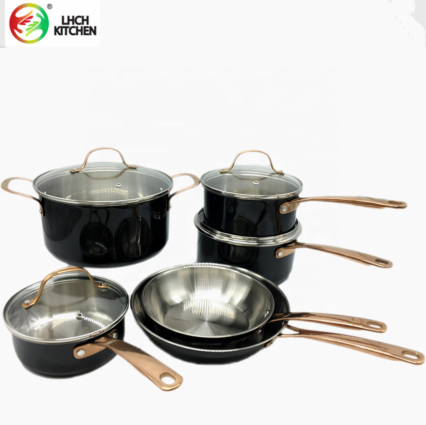 10pcs Heat Resistant premium Stainless Steel cookware with Classic black painting G Style With Non Stick Coating Mirror Polished