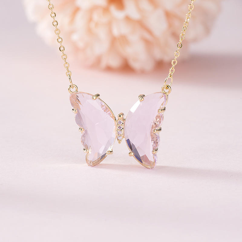Assurance trade new arrival 18k gold plated butterfly necklace jewelry fashion colorful CZ butterfly pendant necklace
