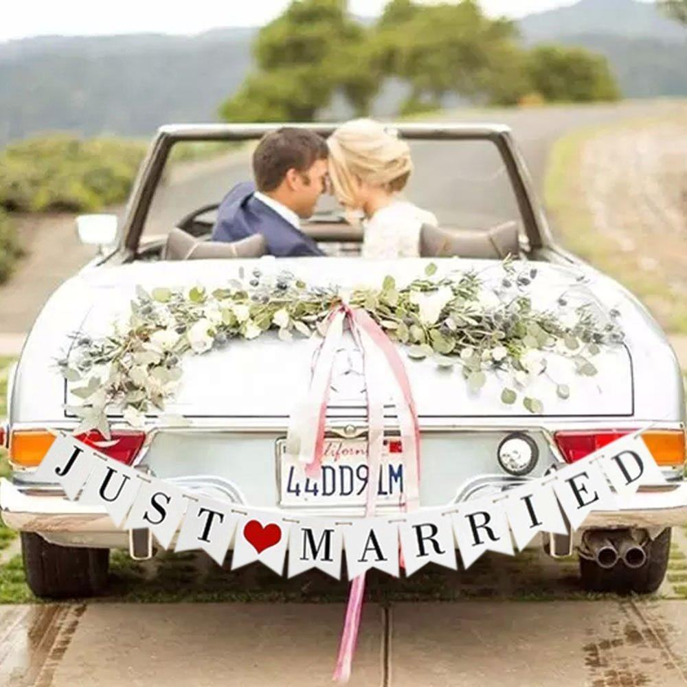 EasternHope Engagement Wedding Banner Set JUST MARRIED Foto Prop Decorações Carro
