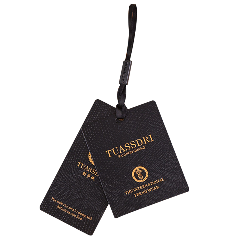 High quality luxury hang tag custom clothing manufacturers tags black label