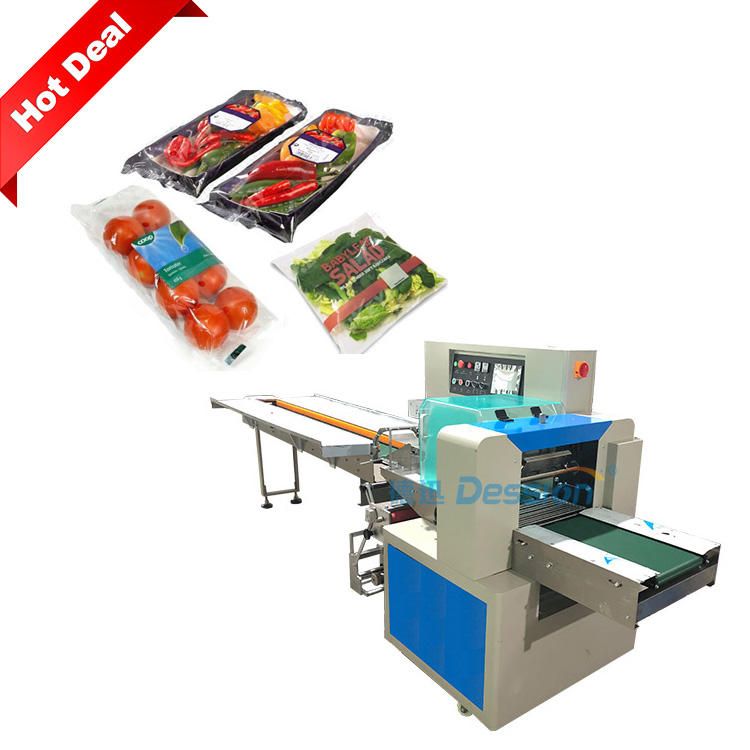 Automatic plastic bag fruit and vegetable packing machine flow pack machine