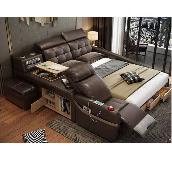 Multifunction Tatami Beds With Storage Massage Beds Music Design Modern Leather Smart Bedroom Furniture