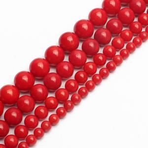 5x noble perlas rojo coral 13mm korallenschaumperlen rojo para fabricar joyas