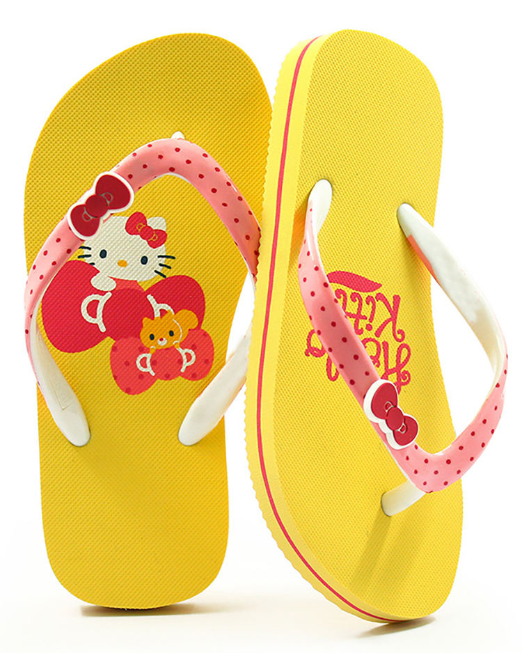 2020 Hot Selling Hello Kitty Printed Outdoor Slippers Cute Bowknot Beach Slipper Kids EVA Flip Flops