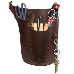 High quality florist brown top grain leather tool belt with keyring hook