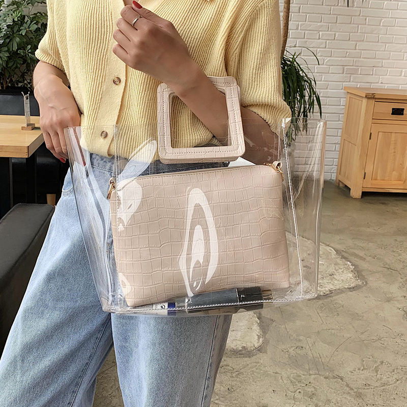 Online Shopping 2020 Personalize Transparent Jelly PVC Tote Bags 2 in 1 Women Purse Handbag