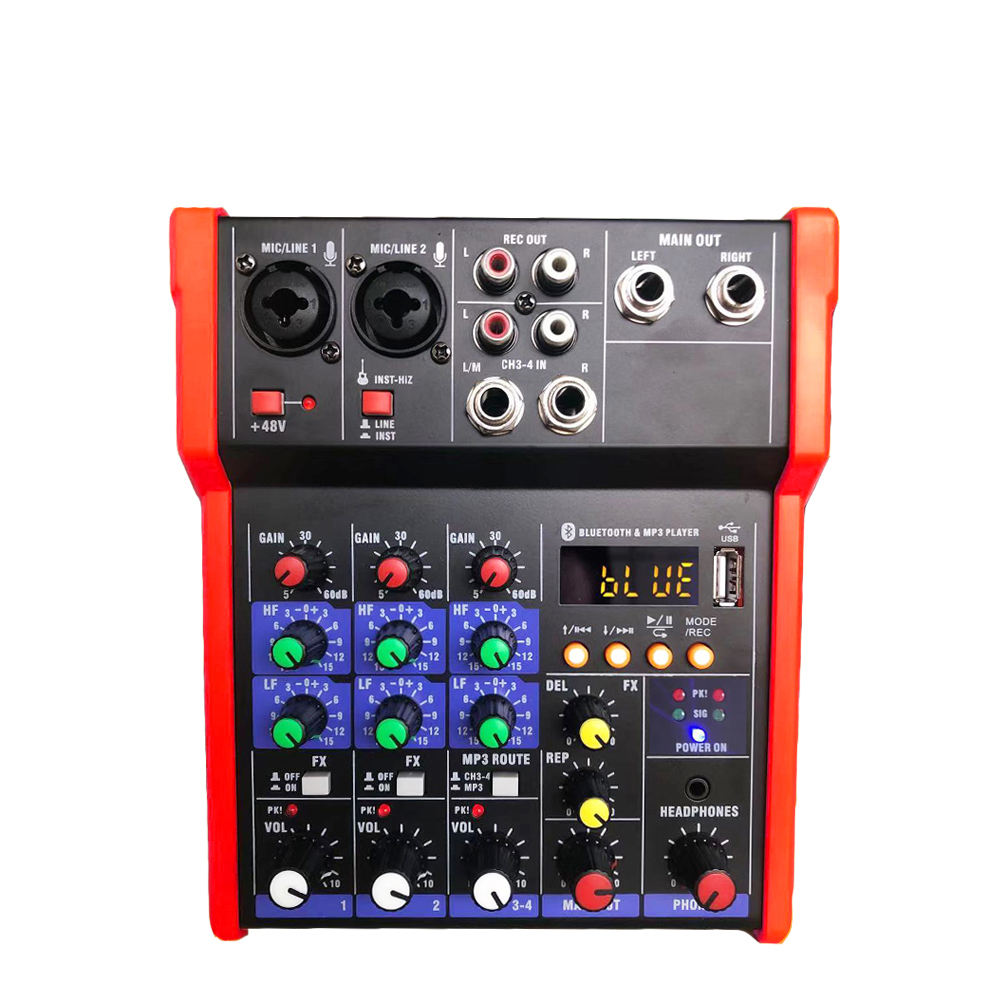 2019 Hot Portable 4-Channel Hybrid Konsol 48V Phantom Power Efek Audio Mixer Rekaman USB