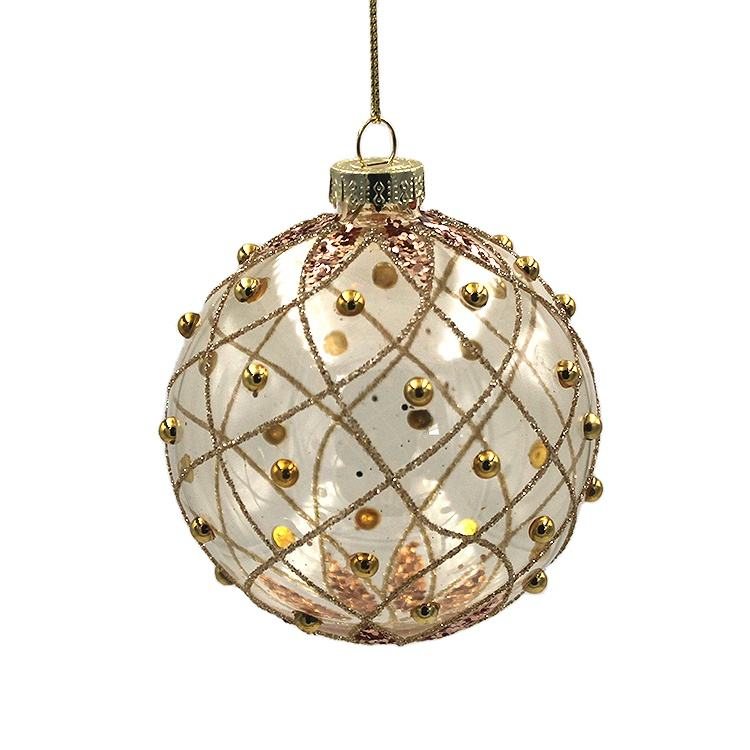 Factory Price Holiday Gift Xmas Tree Hanging Decorative High Quality Luxurious Clear Gold Glass Christmas Ball for Decoration