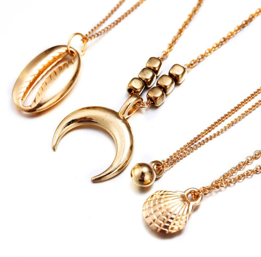New Multilayer Crystal Shell Moon Pendant Necklaces For Women Vintage Charm Choker Necklace Statement Party Jewelry Gift