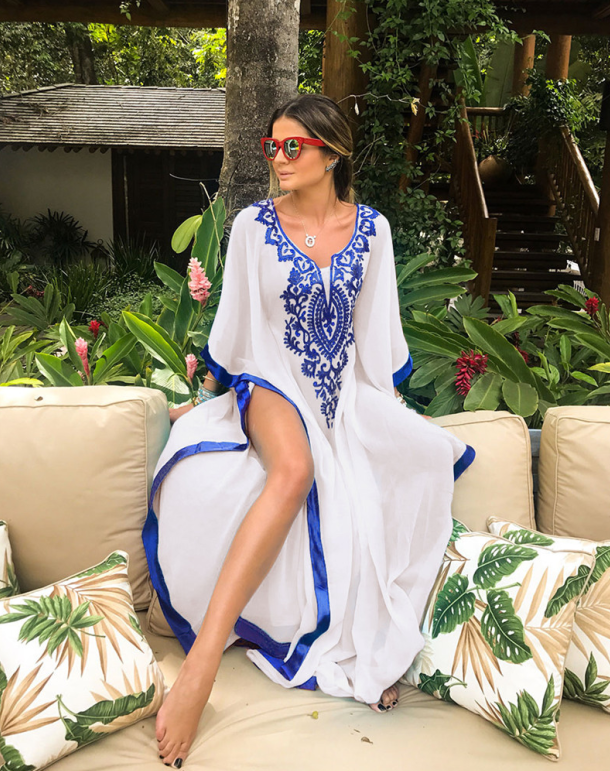 D3543 High Quality Fashion Kaftan Beachwear Beach Cover Up Women Dress