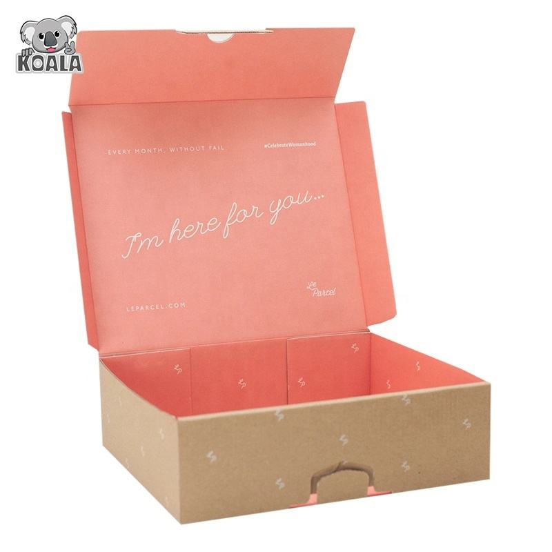 Custom Logo Big Luxury Makeup Printed Corrugated Clothing pink Shipping Box