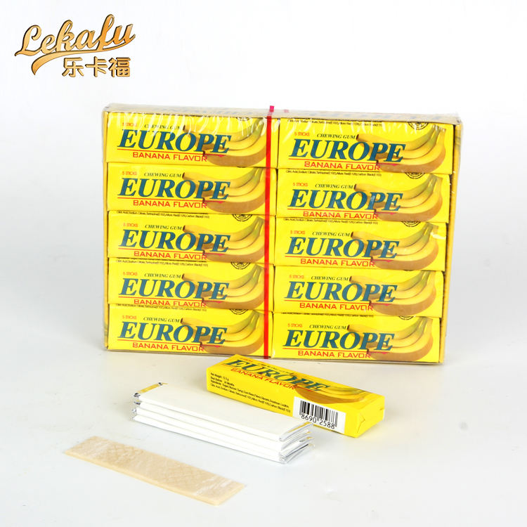 europe chewing gum china gum base fruit 5 sticks chewing gum banana flavor