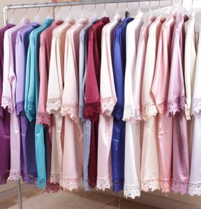 Women knee length Solid colors matte silk Bridesmaid Robe