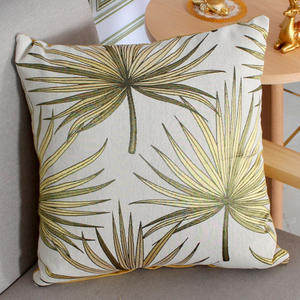 New Trendy Modern Polyester Cotton Leaves Printed Seat Cushion Covers