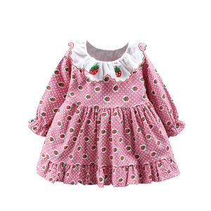 In stock child baby dress model cotton ruffle kids flower dress for sale