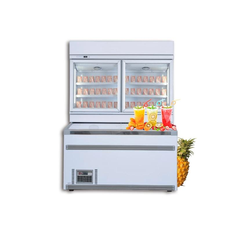 MUXUE Commercial Refrigerator store Combination Island Freezer Upper cooler lower freezer 530L+850L