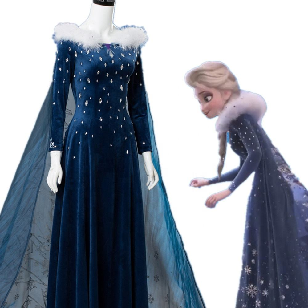 Natal Dress Up Pesta Lengan Panjang Wanita Dewasa Putri Kostum Film Elsa Dress