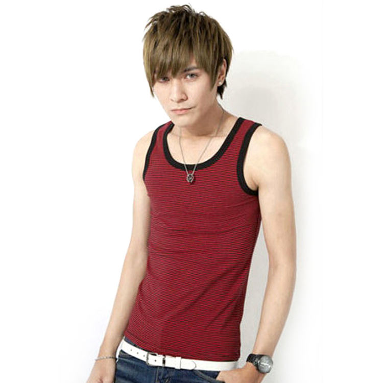 Muscle Loose Swimwear Mens Stripe Sport Vest String Vest