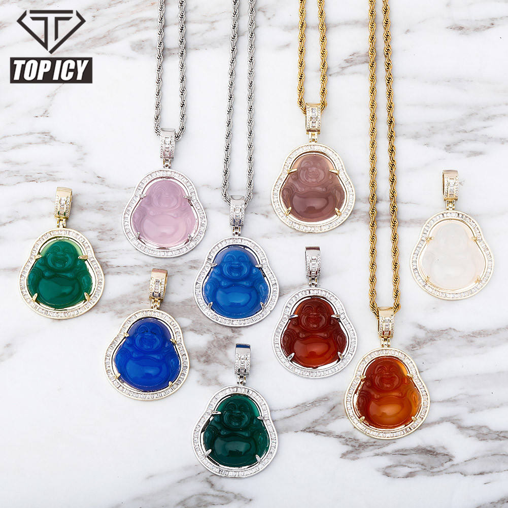 Hip Hop Iced Out Pink Green Red Agate Jade Buddha Pendant for Women Men Necklace Baguette CZ Rapper Jewelry buddha necklace