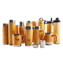 Custom Insulated Stainless Steel Tea Infuser Wooden Flask Wood Tumbler Thermos Bamboo Water Bottle