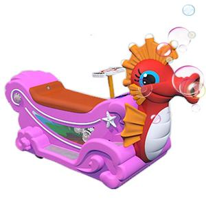 2020 popular ride on battery operated car blow bubbles colorful sea horse for kids