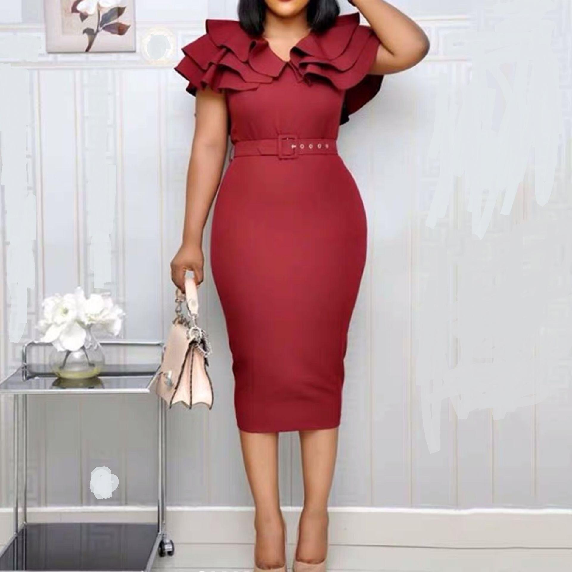 Summer Plus Size Elegant Party Dress Women Wine Red Short Sleeve Ruffle Robe Vintage Ladies Sexy Split Bodycon Midi Dresses
